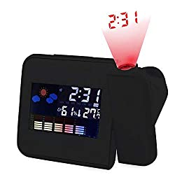 Clearance, LCD Projection Digital Weather Snooze Alarm Clock LED Backlight Color Display by Little Story