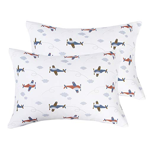 """NTBAY Natural Cotton Jersey Knit Toddler Pillowcases, 2 Pack Soft and Breathable 220 GSM Travel Pillow Cases with Envelope Closure, for Boys and Girls, 13"""" x 18"""", Airplane"""