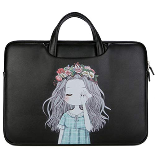 LWSS12 Inch -15.6 Inch Women's Laptop Handbag Waterproof PU Leather Suitable for Apple Lenovo Dell Pc Etc 13in/Black