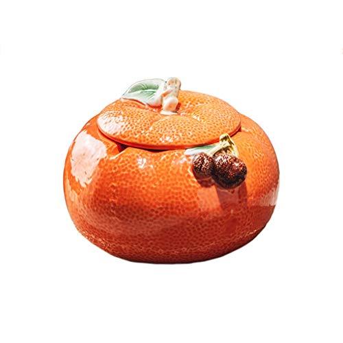 didi Cenicero creativo naranja, cenicero para sala de estar, antimosca, cenicero creativo de cerámica para el hogar con cubierta, color naranja, retro, creativo, 3.1 x 5.1 pulgadas, cenicero de regalo