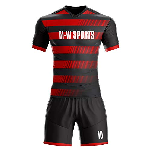 Custom Sport Jerseys - Make Your Own Soccer Jersey Set - Personalized Team Uniforms (Black-red 4, M)