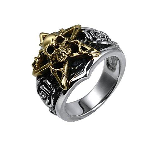 Rock&Ride Handgemachte 925 Sterling Silber Ring Rose Pentagramm Stern Totenkopf Ring