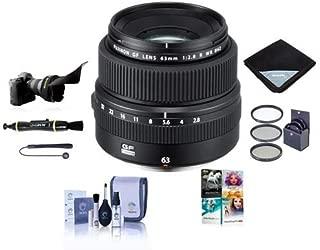 Fujifilm FUJINON GF 63mm F/2.8 R WR Lens for GFX Medium Format System - Bundle with 62mm Filter Kit, Flex Lens Shade, Lens Wrap, Lens Pen Cleaner, Lens Cap Leash, Cleaning Kit, PC Software Package