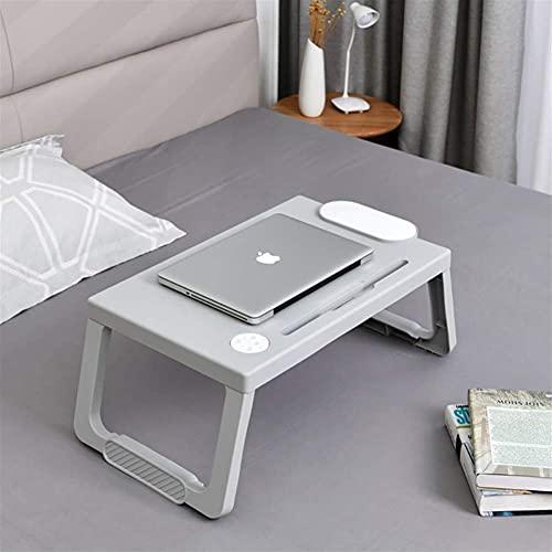 MQJ - Tavolo pieghevole per computer portatile, tavolino per computer portatile, per lavoro, studio, notebook, con supporto per penna per divano letto, grigio e bianco