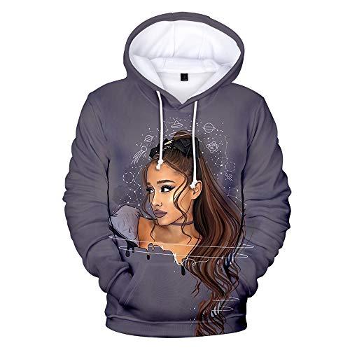 NUANNUAN 3D-Druck Ariana Grande Sweatshirt Mädchen Sportswear Süße Top Pullover Hoodie Süße Sängerin Mädchen Lange Dame Lässig Locker XXS-4XL