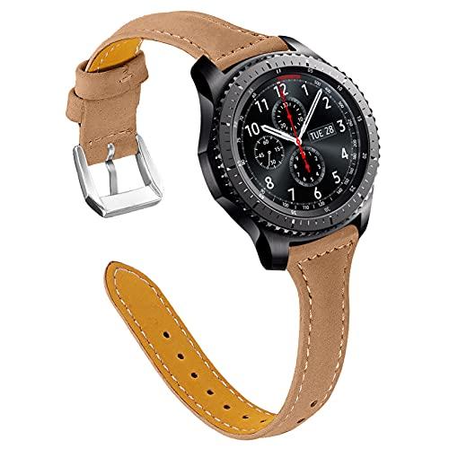 TechCode Galaxy Watch 46mm Bandas, 22mm Correa de Cuero Genuino Reemplazo de Liberación Rápida Pulsera Delgada para Samsung Galaxy Watch 3/ Gear S3 Frontier& Classic/Ticwatch Pro (Café)