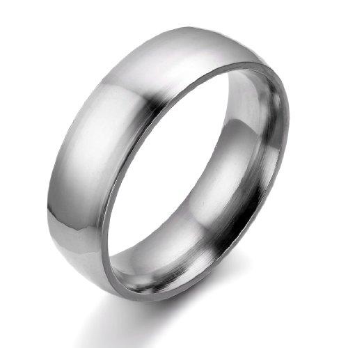 JewelryWe Schmuck 6mm Breite Edelstahl Herren-Ring, Hoch Poliert Dome Silber, Partnerringe Jahrestag Verlobung Hochzeit Band, mit Geschenk Tüte Größe 59