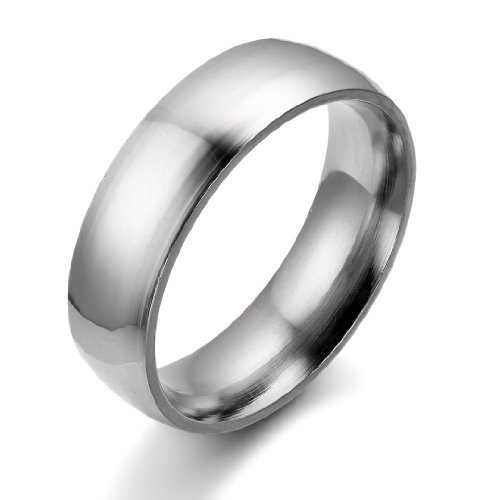 JewelryWe 6mm Polished Stainless Steel Couples Anniversary Ring Comfort Fit Mens Ladies Engagement Wedding Band (Size T)