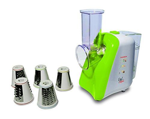 THOMSON Gemüseschneider elektrisch - 5-in-1 Gemüsehobel Set mit Schneider, Raspel & Reibe, elektrische Küchenreibe für Gemüse, Obst, Käse & Co, für die Spülmaschine geeignet