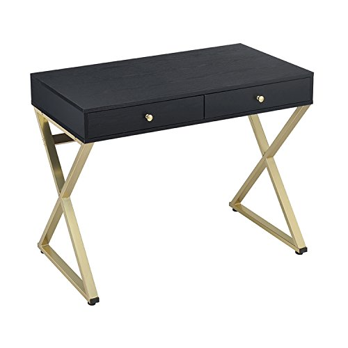 ACME Furniture Acme Coleen Desk, black & Brass