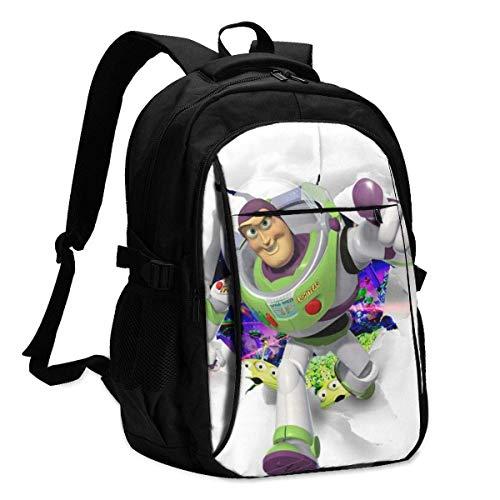 Daybacks,Toy Story Buzz Lightyear Mochila para Portátil con Puerto De Carga USB Llamativas Mochilas para Niños para Vacaciones De Cumpleaños,46x34x21cm