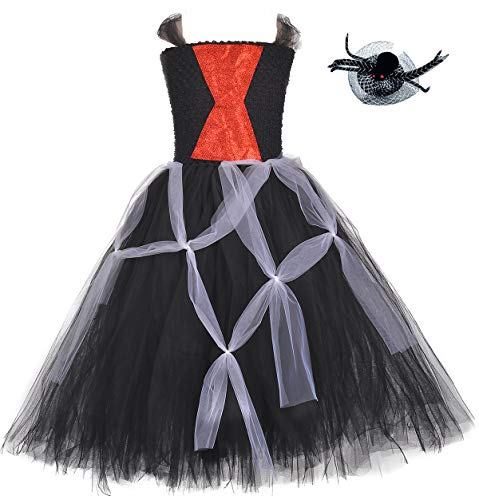 Tutu Dreams Witch Widow Costume for Girls Halloween Scary Spider Role Play Dress Balck Scarlet Tutu (Spider, Medium(3-4 Years))