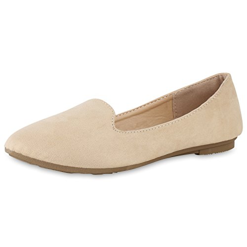 SCARPE VITA Damen Slippers Loafers Wildleder-Optik Flats Slip On Schuhe Basic 162288 Creme 40
