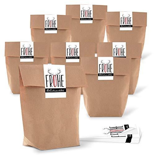25 kleine Papier-Tüten braun natur 16,5 x 26 x 6,6 cm + 25 Aufkleber weihnachtlich FROHE WEIHNACHTEN Hirsch-Geweih schwarz weiß rot Geschenk Verpackung SET bio Kraftpapier Be-Füllen Säckchen