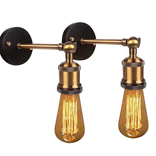 Luz industrial de pared 2 Paquete de la lámpara de escono de pared de la vendimia, lámpara de iluminación de pared retro giratoria de 180 ° con el socket E27 / E26 para el restaurante Bar Hotel Cafe D