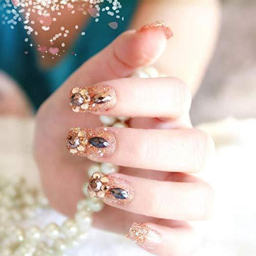 TJJF 24 Pcs/Set Mode Faux Ongles De Mariage De Mariée Brillant Nail Art Conseils Avec De La Colle Bohême Stlye Faux Ongles