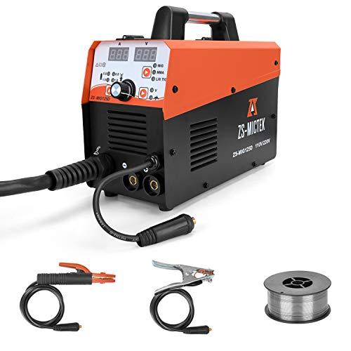 MIG Welder Flux Core IGBT 125A Gas/Gasless 220V Stick Mig Welding Inverter Welding Machine Including MIG/Stick/TIG Welder 3 in 1 Flux Cored Wire and Welding Torch