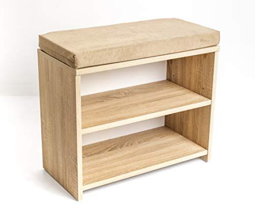 mimilos schuhschrank mit sitzbank, sonom, schuhregal 30 x 60 x 53,5 cm, klein schuhregale, schuhregal mit sitzfläche, sitzbank mit schuhregal (sonom)