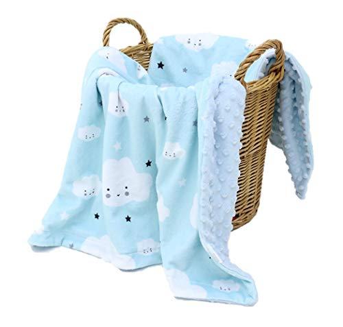 KlassMi Babydecke Junge blau sehr weiche und flauschige Kuscheldecke für Ihr Baby Krabbeldecke Puckdecke Erstlingsdecke Spieldecke Geschenk zur Geburt Erstausstattung