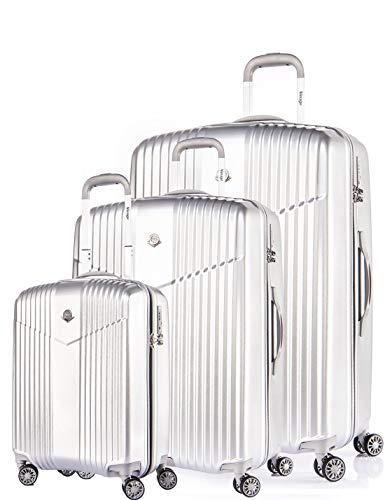 Verage V-LITE Reisekoffer Ultraleicht Ab 1,9kg Hartschale 4 Doppel-Räder TSA Schloss 3teilig Set ABS/PC Trolley Silber mit Sicherheits-Reißverschluss
