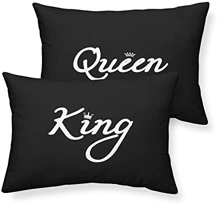 Junhome Black Couple Pillowcases Queen King Pillow Cases Standard Size Sweetheart Gift Valentines product image