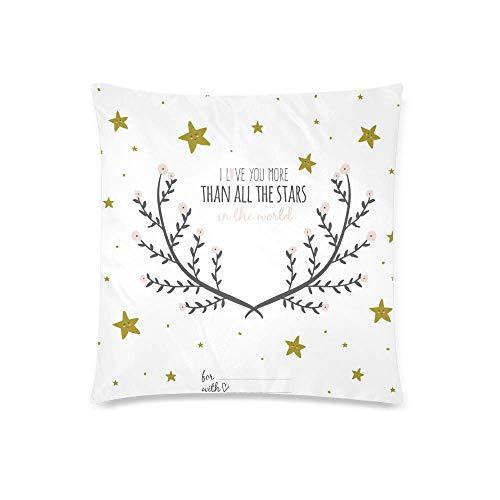 HZLM Funda de cojín decorativa con texto en inglés 'I Love You More Than All The Stars' de 45 x 45 cm, funda de almohada cuadrada con cierre