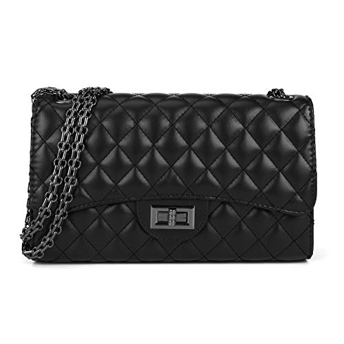 Quilted Crossbody Bags for Women Leather Ladies Shoulder Purses with Chain Strap Stylish Clutch Purse Black I