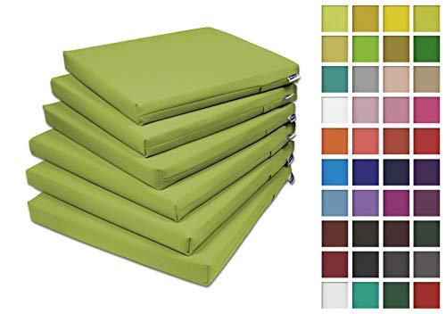 Rollmayer 6er Set Stuhlkissen Stuhlauflage Sitzkissen Sitzpolster Auflage für Stühle in Haus und Garten Kollektion Vivid (Olivgrün 22, 40x40x4cm)