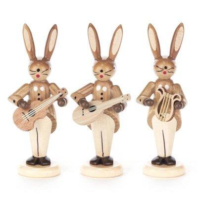 Osterhasenfiguren Hasentrio mit Gitarre, Mandoline und Lyra, natur - Osterhase - Osterdeko – Osterfigur - Holzfiguren – Handarbeit aus dem Erzgebirge - Höhe ca. 8 cm - NEU