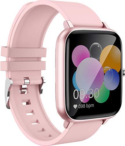 Smartwatch Bluetooth Telefonieren Damen Groß Voll Touchscreen Bildschirm Sportuhr Herren Andriod Fitnessuhr Kompatibel Unisex Schlaftracker Armband Blutdruck Schlafüberwachung Rosa