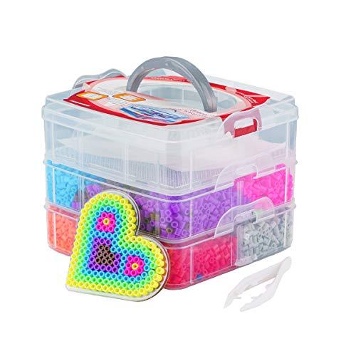 Surplex Cuentas y Abalorios hama Beads, 10000pcs Abalorios fusibles de 12 Colores para Actividades Creativas y Manualidades Infantiles, Niños Bisuteria Jueguetes Educativos Cuentas de Artesanía