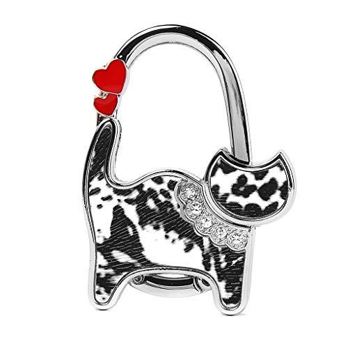 Fransande - Bolso de mano plegable con forma de gato (negro y blanco)