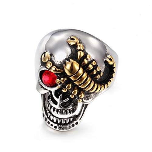 Mailizhong Simple Fashion Stainless Steel Jewelry Gold Scorpion Skull Men's Ring Red, Size V