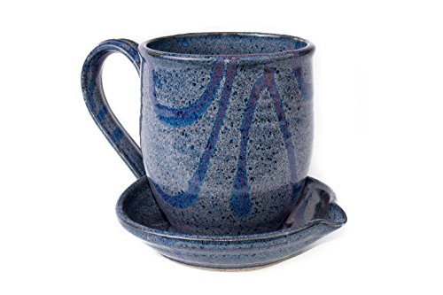 Midnight Sun Pottery Ceramic Microwave Bacon Cooker - Blue with Raspberry