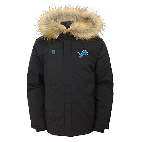 NFL Youth Boys Recon Heavyweight Parka Jacket-Black-L(14-16), Detroit Lions