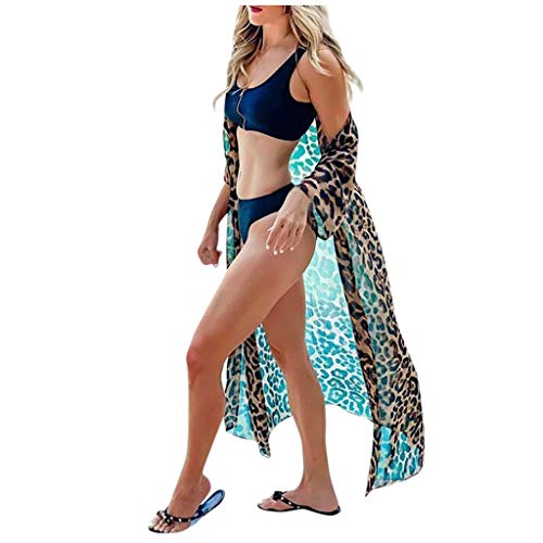 Damen Leoparden Muster Langer Strickjacke Maxi Leo Print Cardigan Lange Strandkleider Langarm Kittel Pareos Transparent Bluse Maxikleid Sommerkleid Perspective Sommer Bikini Cover Up Strandponcho