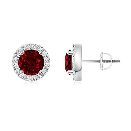 Orecchini a perno con diamanti rotondi e rubini e Oro bianco, colore: Argento, cod. ANG-E-SE0126R-WG-AAAA-6