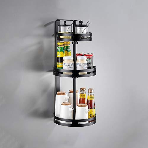 Especiero giratorio de 360 °,estante organizador de gabinete de cocina de aluminio espacial,almacenamiento multifunción,estante de almacenamiento para colgar en la pared de esquina,negro,plateado