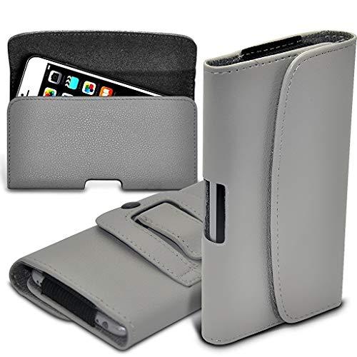 ONX3 Grau horizontale Tasche Kunstleder Gürtel Handytasche Fall Abdeckung mit Magnetverschluss kompatibel mit Oukitel K4000 Lite