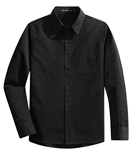 Spring&Gege Jungen Einfarbig Hemden Freizeit Baumwoll Klassisch Schuluniform für Kinder,Schwarz,13-14 Jahre