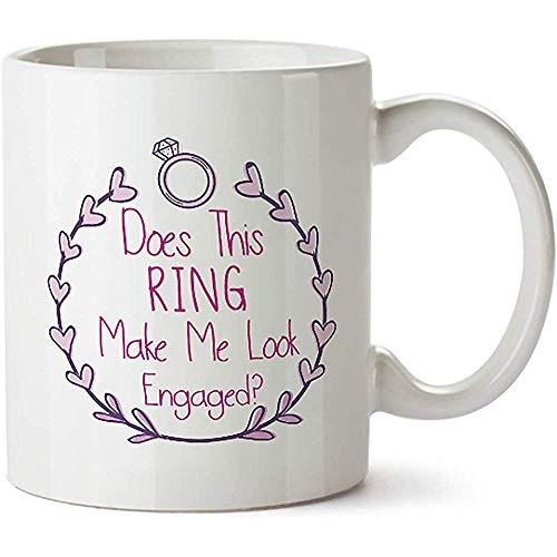 ¿Este anillo me hace ver taza café porcelana comprometida