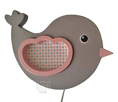 Clevere Kids Kinder Wandlampe Alle Meine Tiere Holz Handarbeit A++ (Vögelchen grau-rosa)