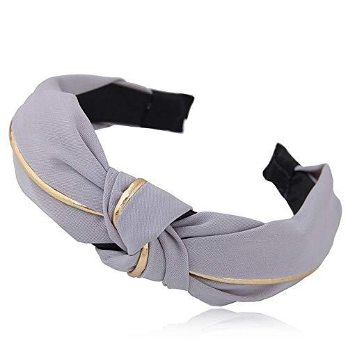 Fijnere effen kleur haarbanden voor vrouwen sieraden Cross Knot Wide Gold Side Bow hoofdband Girl Sport Face Wash haarband, S1-grijs