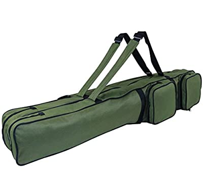Carp Fishing Rod Holdall Bag with 2 Pockets 125 CM/49 inch for Fishing Rod and Landing Net from Croch