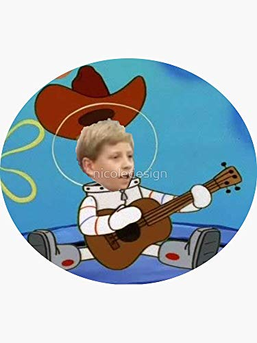 Walmart Yodel Kid Spongebob Squarepants Sandy Cheeks The Squirrel Texas Guitar Funny Meme Sticker - Sticker Graphic - Auto, Wall, Laptop, Cell, Truck Sticker for Windows, Cars, Trucks