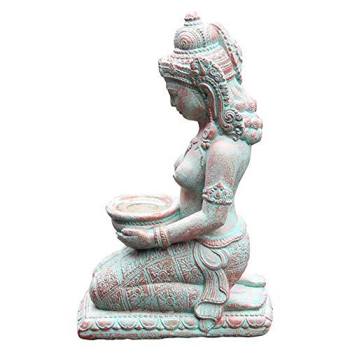 Ciffre Frau mit Schale ca. 30cm Antik Look Massiv Steinfigur Skulptur Feng Shui Garten Deko...