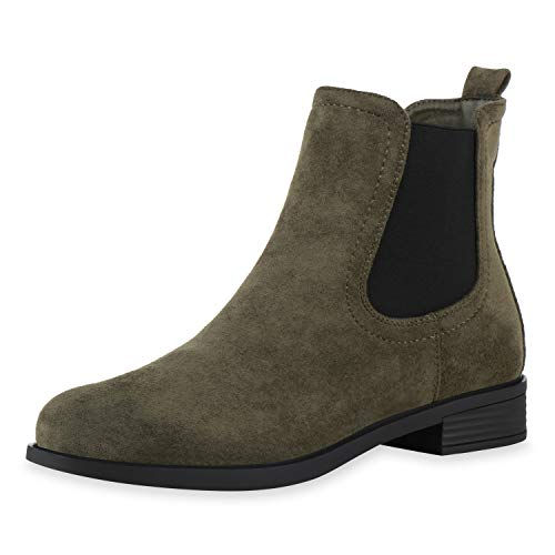 SCARPE VITA Damen Chelsea Boots Leicht Gefüttert Stiefeletten Wildleder-Optik Profilsohle Bequeme Blockabsatz Schuhe 197044 Olivgrün 38