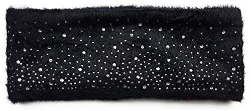 Gevoerde hoofdband met fonkelende strass-steentjes en bont look, binnenvoering, fleece haarband, oorwarmers, oorwarmers en oorwarmers