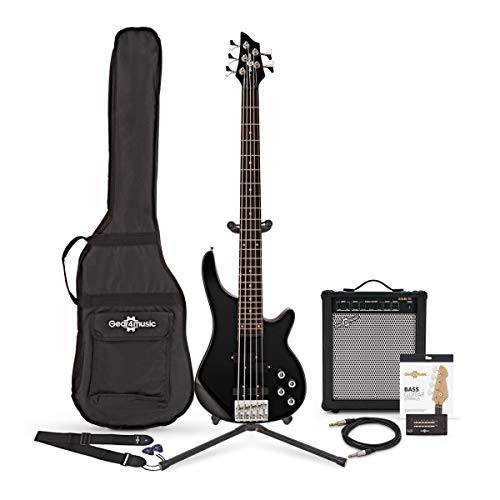 Chicago 5 String Bass Guitar, Black + 35W Amp Pack by Gear4music