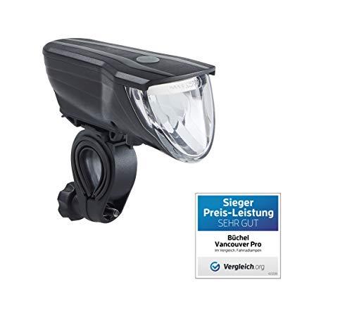 Büchel LED Akkufrontleuchte Vancouver Pro, StVZO zugelassen, 70 Lux, automatische Lichtstreuung, schwarz, 51227504